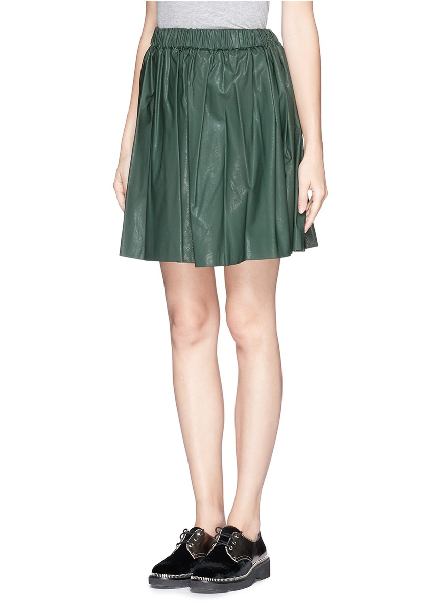 msgm faux leather flare skirt in green lyst