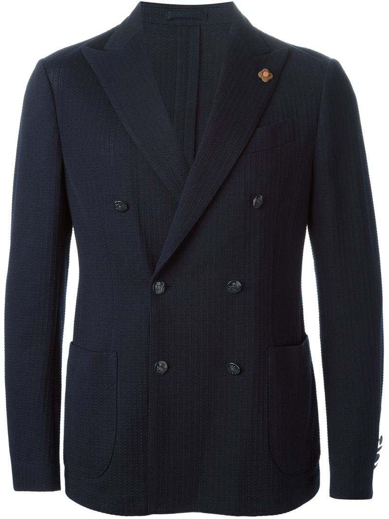Lardini Double Breasted Blazer in Blue for Men | Lyst