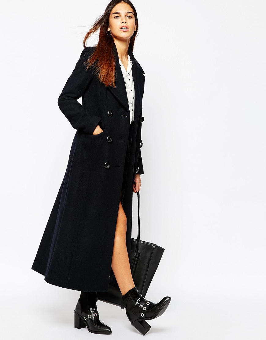 Warehouse Longline Military Coat in Blue | Lyst