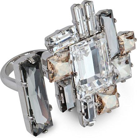 45e72f937710 Atelier Swarovski Philippe Ferrandis Manhattan Open Ring in Metallic ...