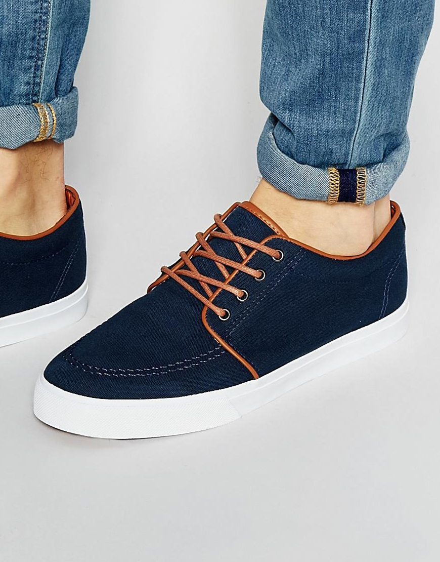 asos lace up plimsolls in navy canvas in blue for lyst