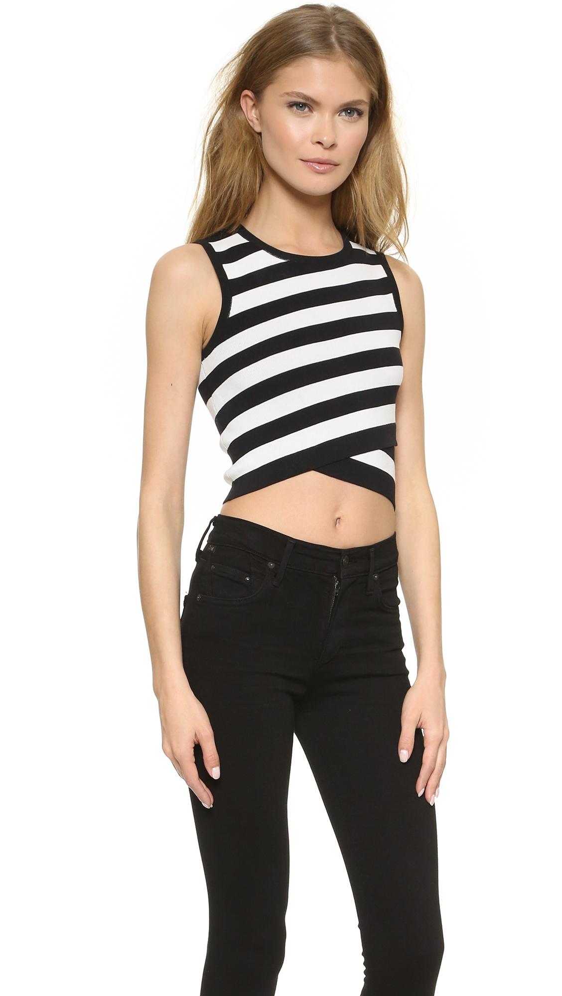 c05f6f335cf8d DKNY Striped Sleeveless Crop Top - Black/white in Black - Lyst