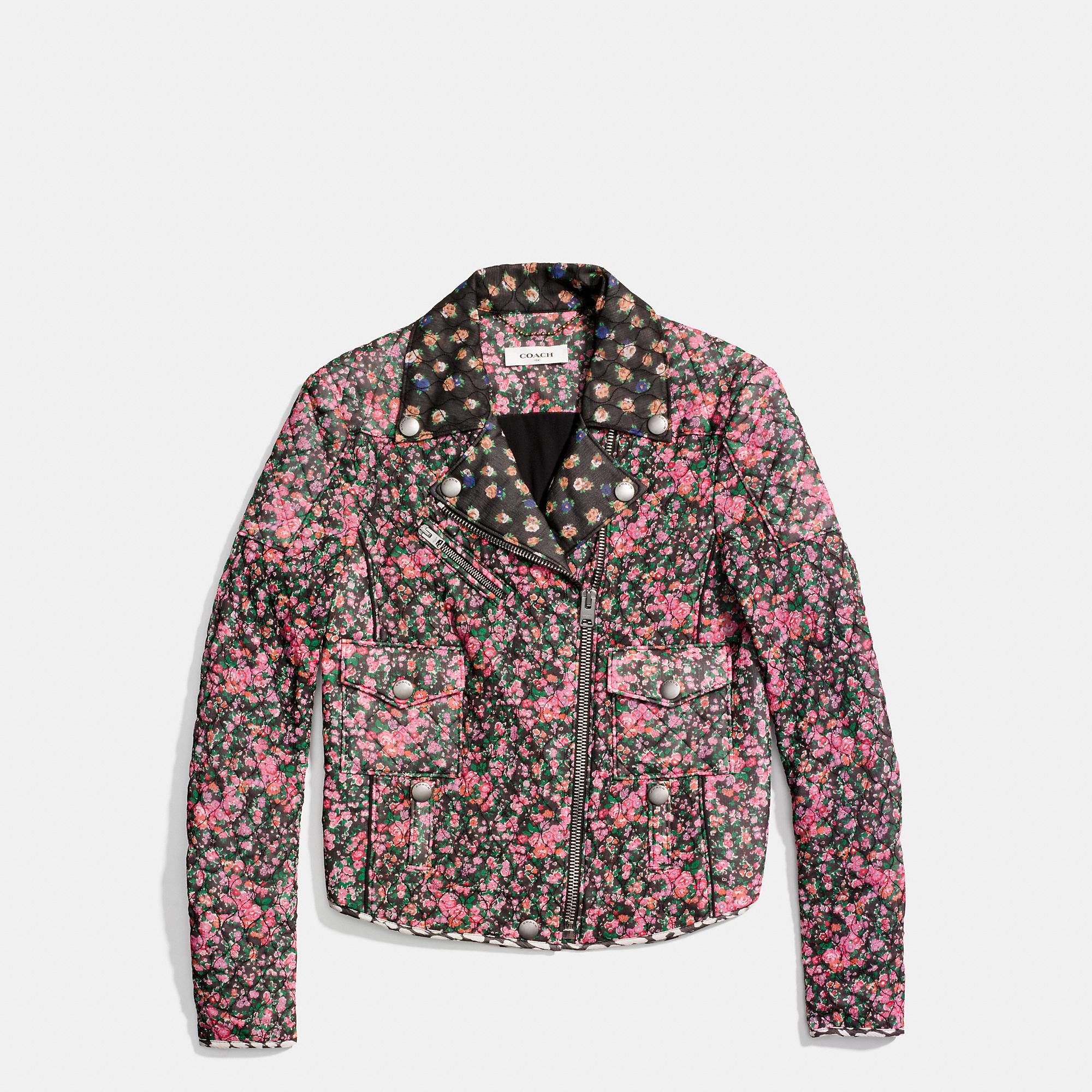 Coach Floral-printed Silk Chiffon Biker Jacket In Brown