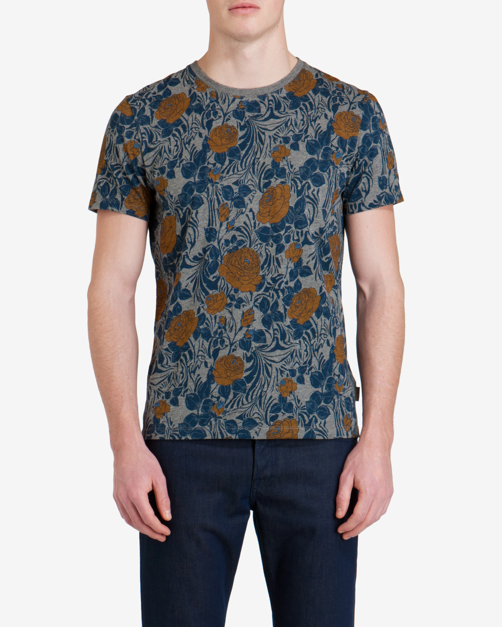 Ted baker t shirt with tonal flower print in floral for for Ted baker floral print shirt