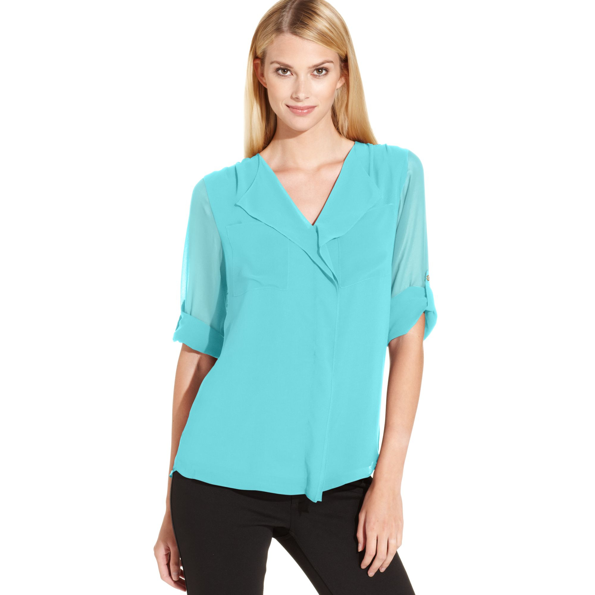 Calvin klein Roll Tab Sleeve Ruffle Front Blouse in Green | Lyst