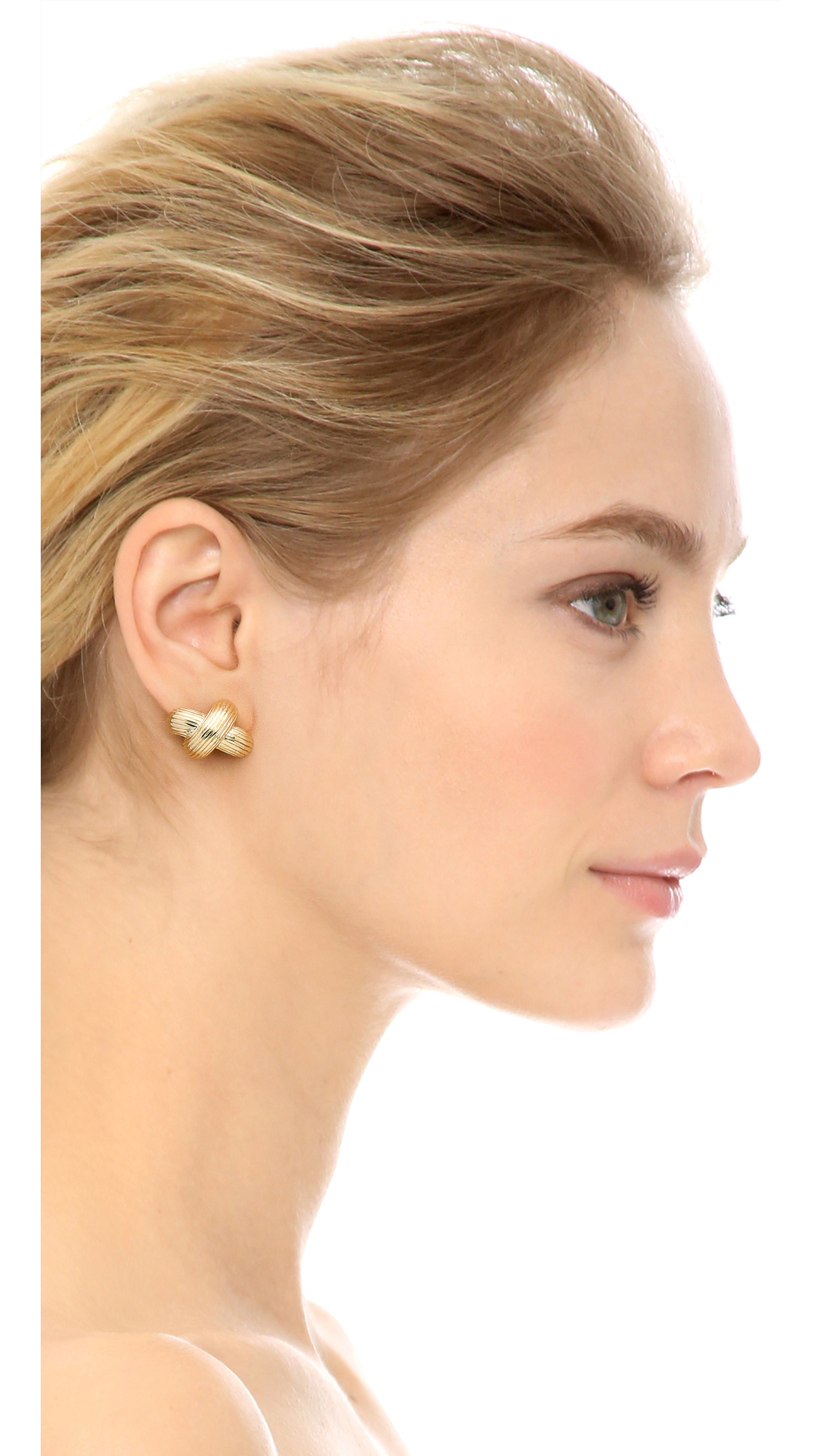 eb6fc209612ea Giles & Brother Large X Knot Earrings - Gold in Metallic - Lyst