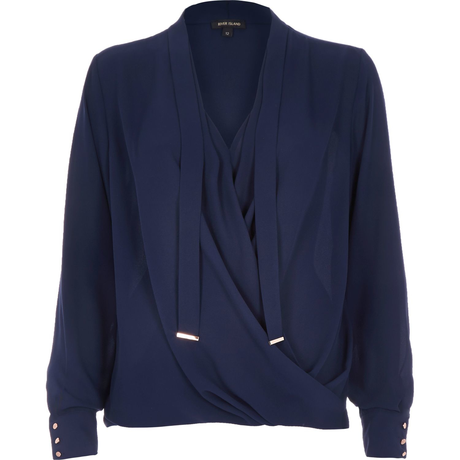 River Island Navy Long Sleeve Pussybow Wrap Blouse In Blue Lyst Arlo Women 39 Gallery