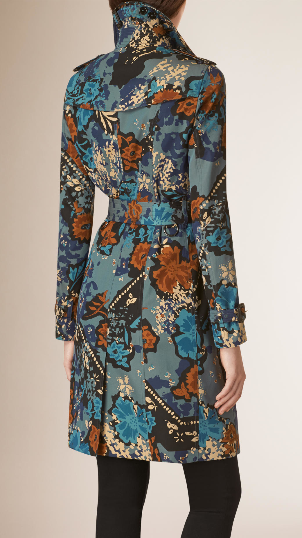 Burberry Floral Cotton Gabardine Trench Coat In Blue Lyst