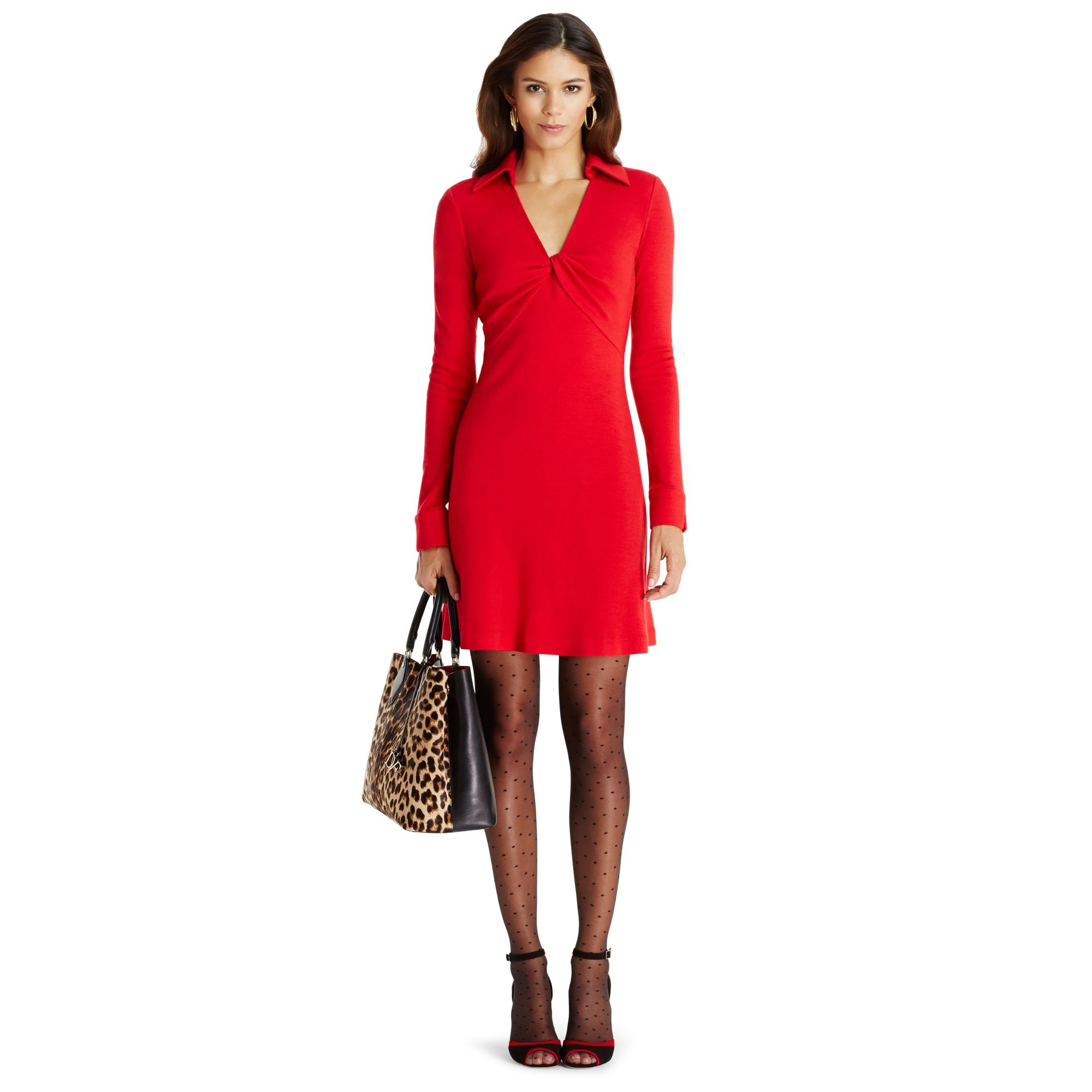 Lyst diane von furstenberg dvf twist wool shirtdress in red for Diane von furstenberg clothes