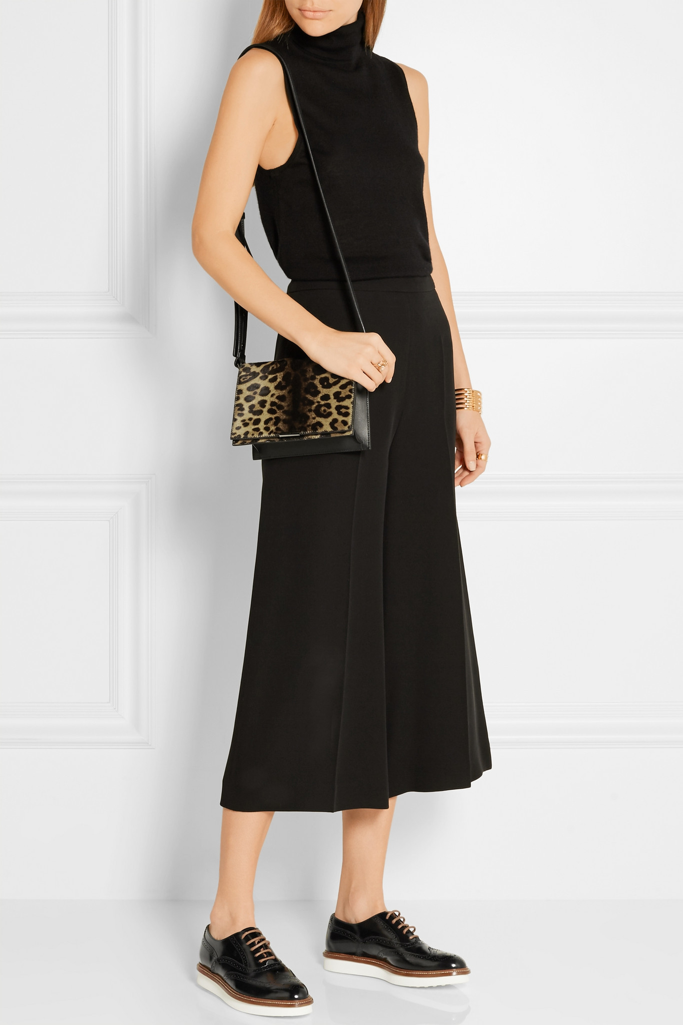 a90b88043661 Victoria Beckham Leopard-print Calf Hair And Leather Shoulder Bag - Lyst
