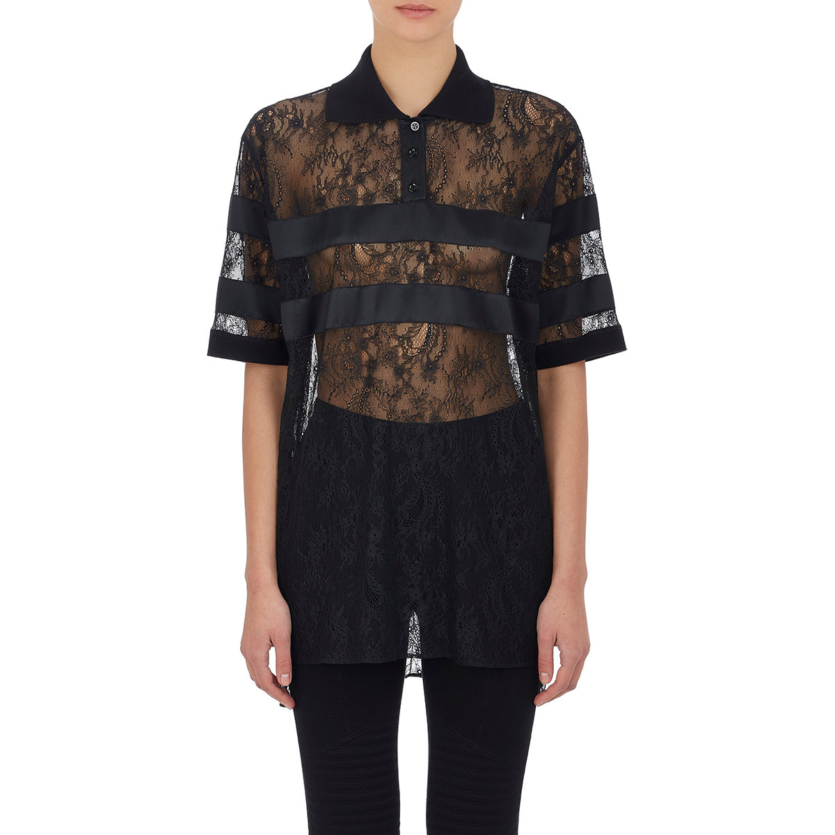 Lyst - Givenchy Women s Satin-striped Lace Polo Shirt in Black 78ba60b15