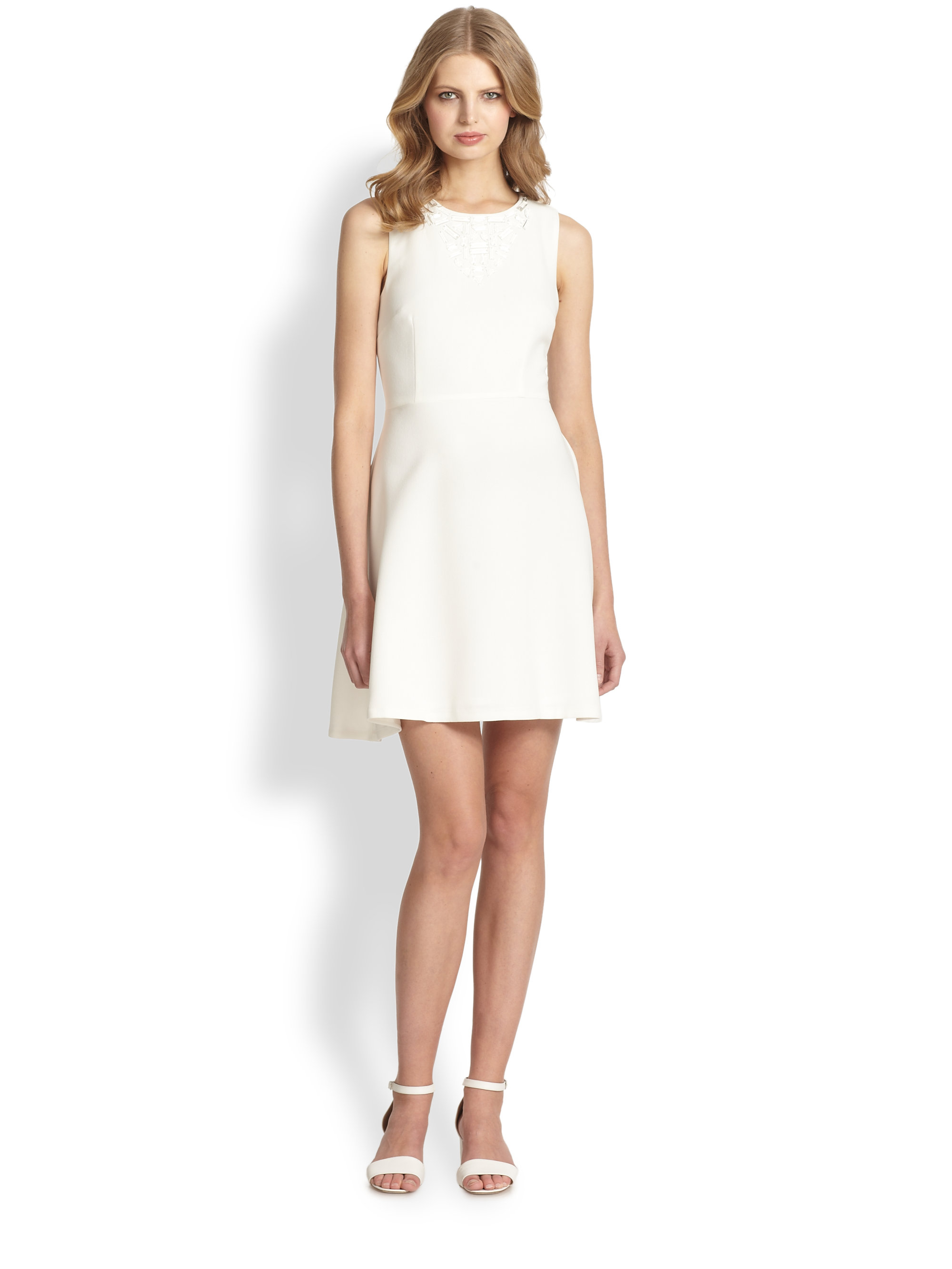embellished neckline flared dress - White Trina Turk 6Qagiw8E