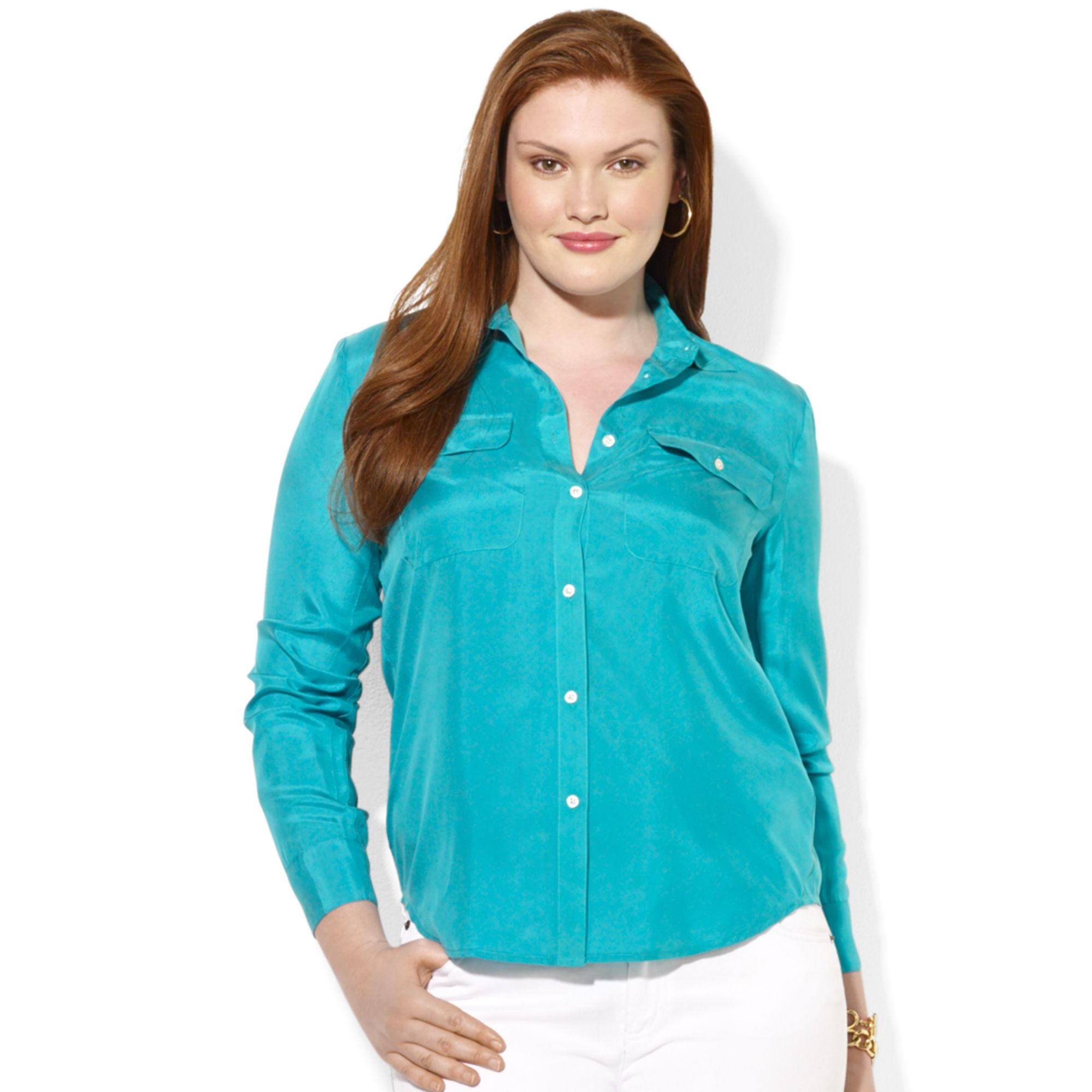 blouse plus silk size long sleeved blouse