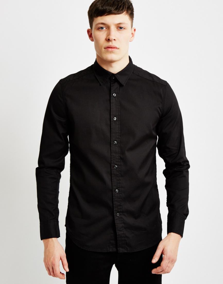 g star raw landoh clean shirt long sleeve black in black for men lyst. Black Bedroom Furniture Sets. Home Design Ideas