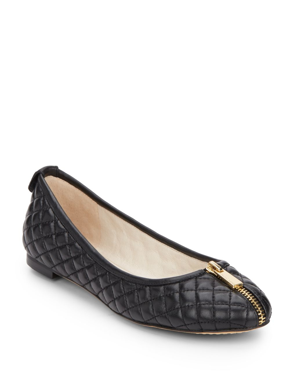Lyst Vince Camuto Zip Trim Quilted Leather Ballet Flats