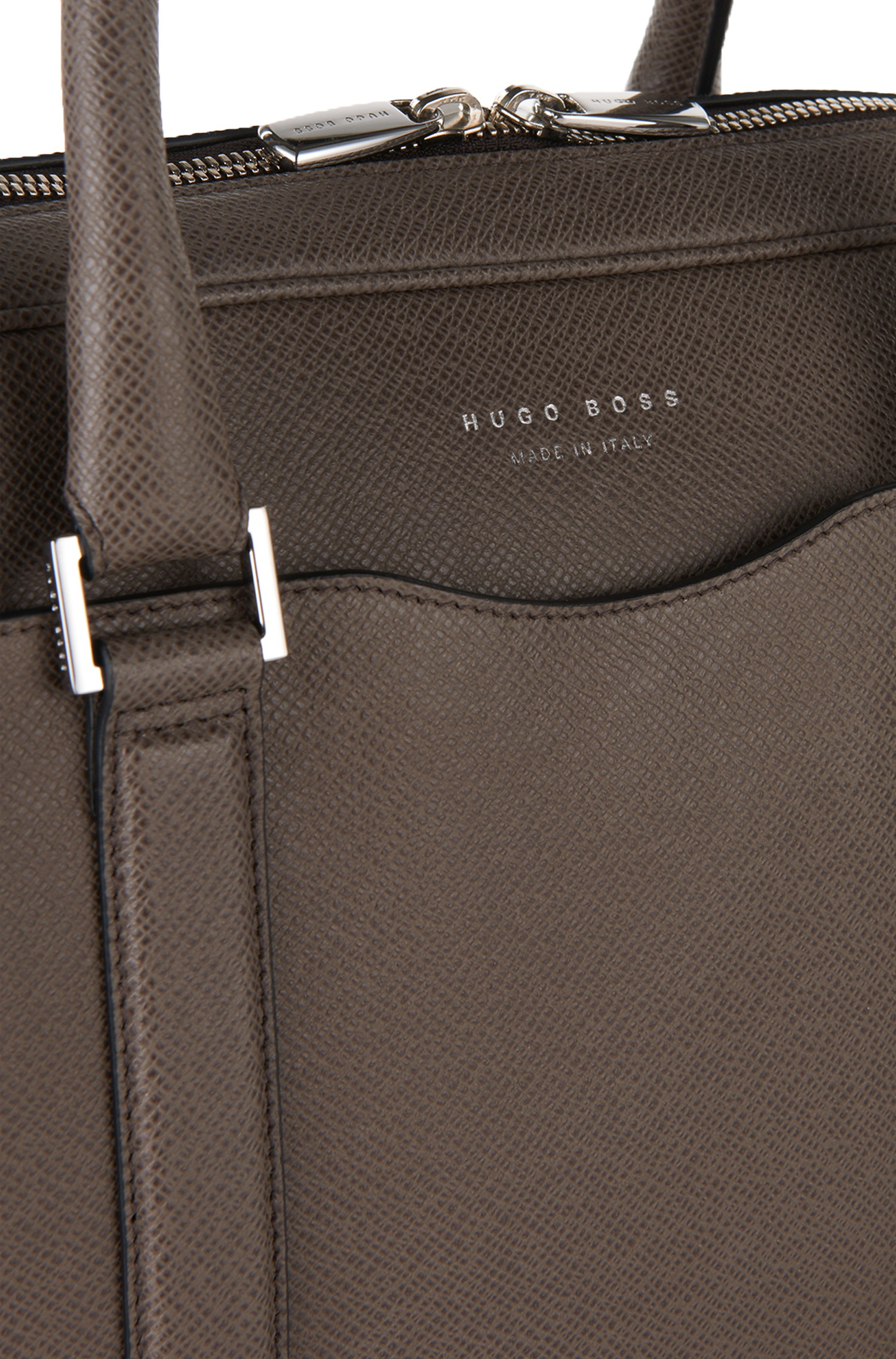 8213a73618 Boss Laptop Bag In Finely-textured Leather   signature s Doc  in ...