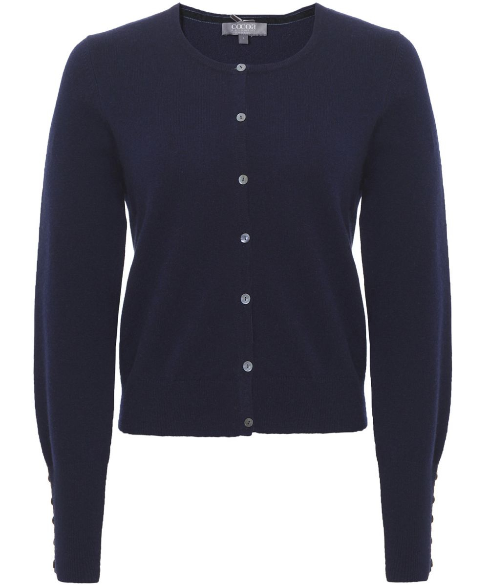Cocoa cashmere Cropped Cashmere Cardigan in Blue | Lyst