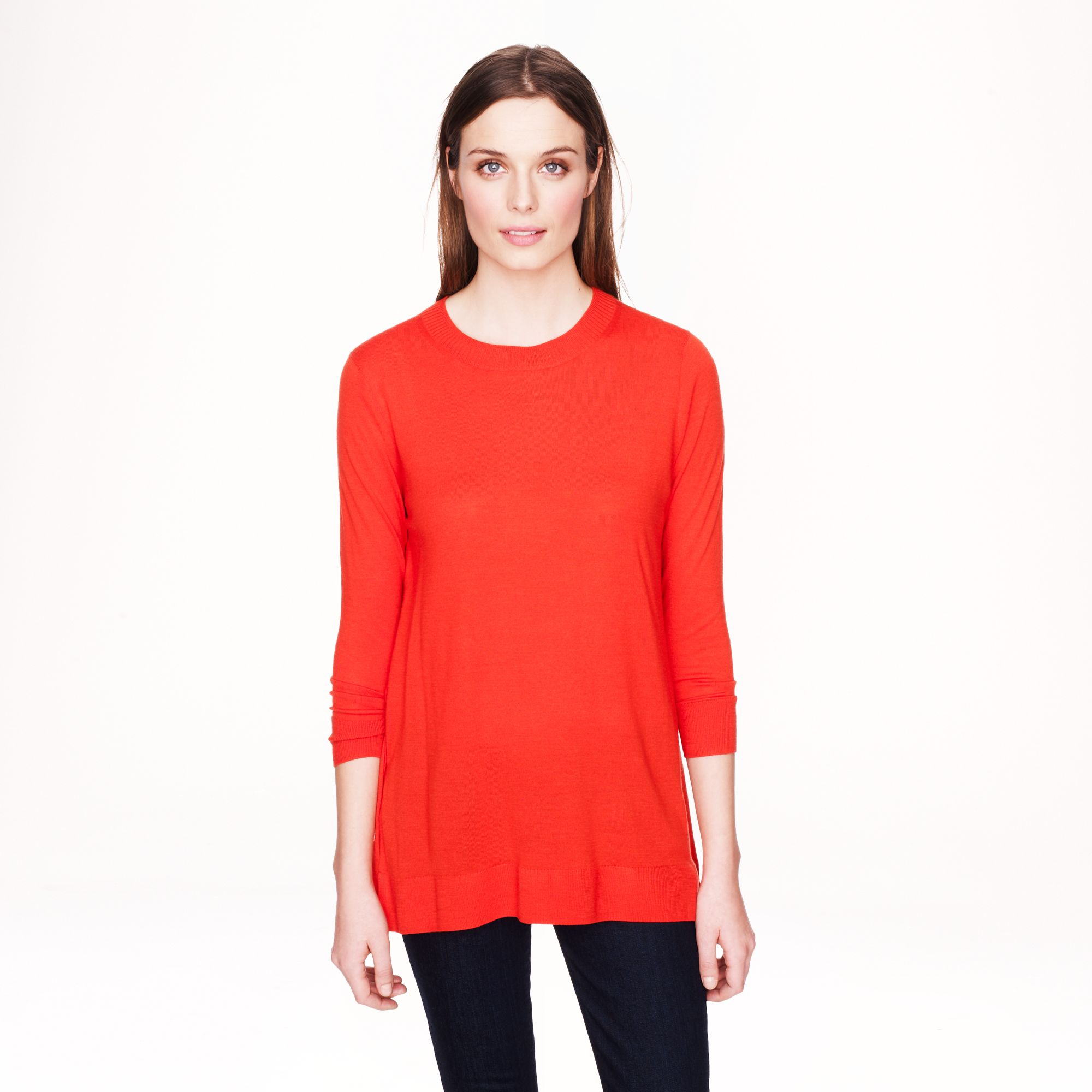 J.crew Lightweight Merino Tunic Sweater in Red | Lyst