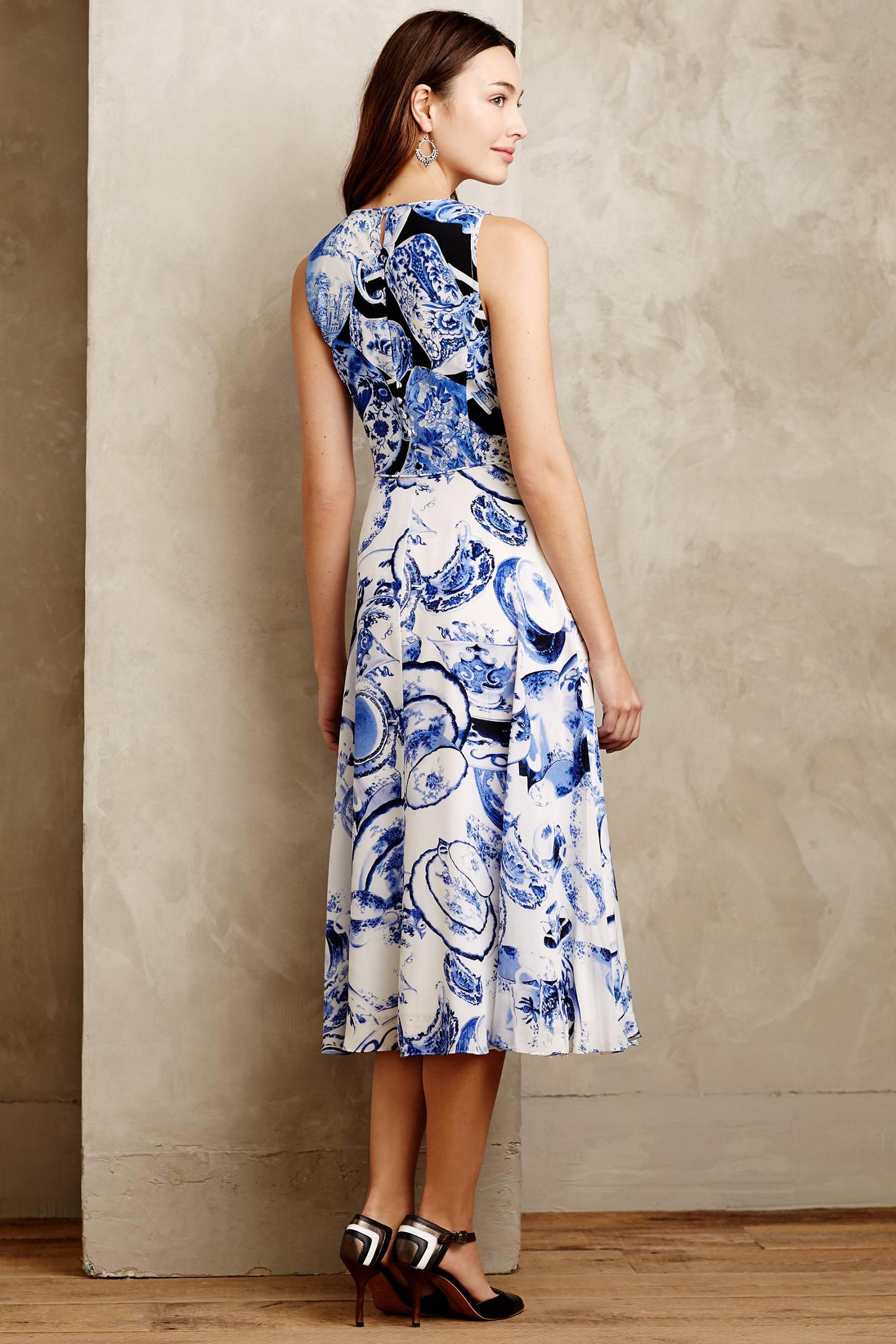 lyst  leifsdottir afternoon tea silk dress in blue