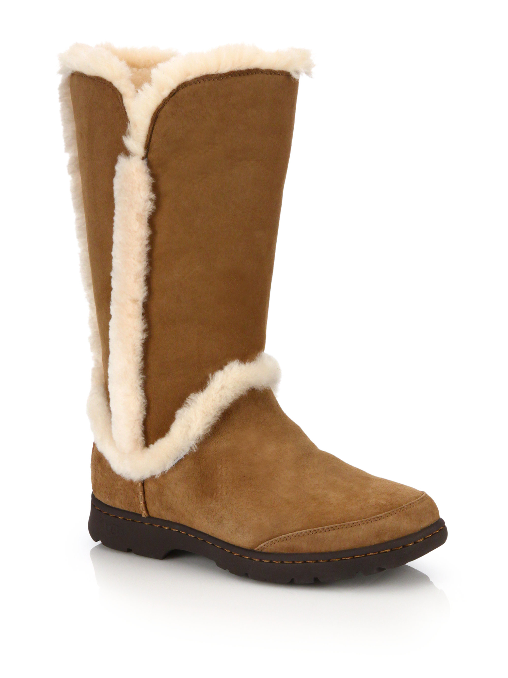 lyst ugg katia suede shearling faux fur boots in brown