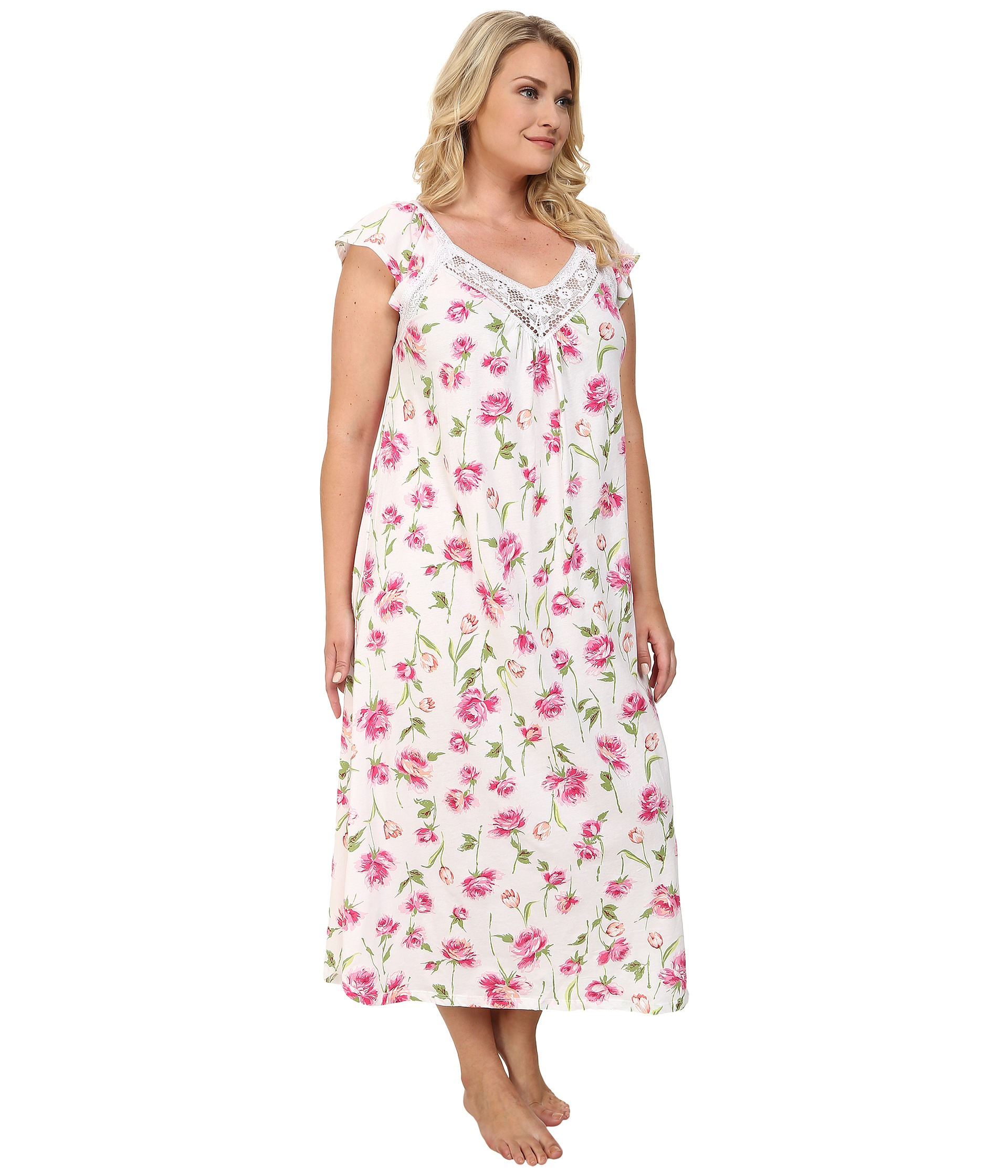 Lyst - Carole Hochman Plus Size Floral Print Long Gown in White