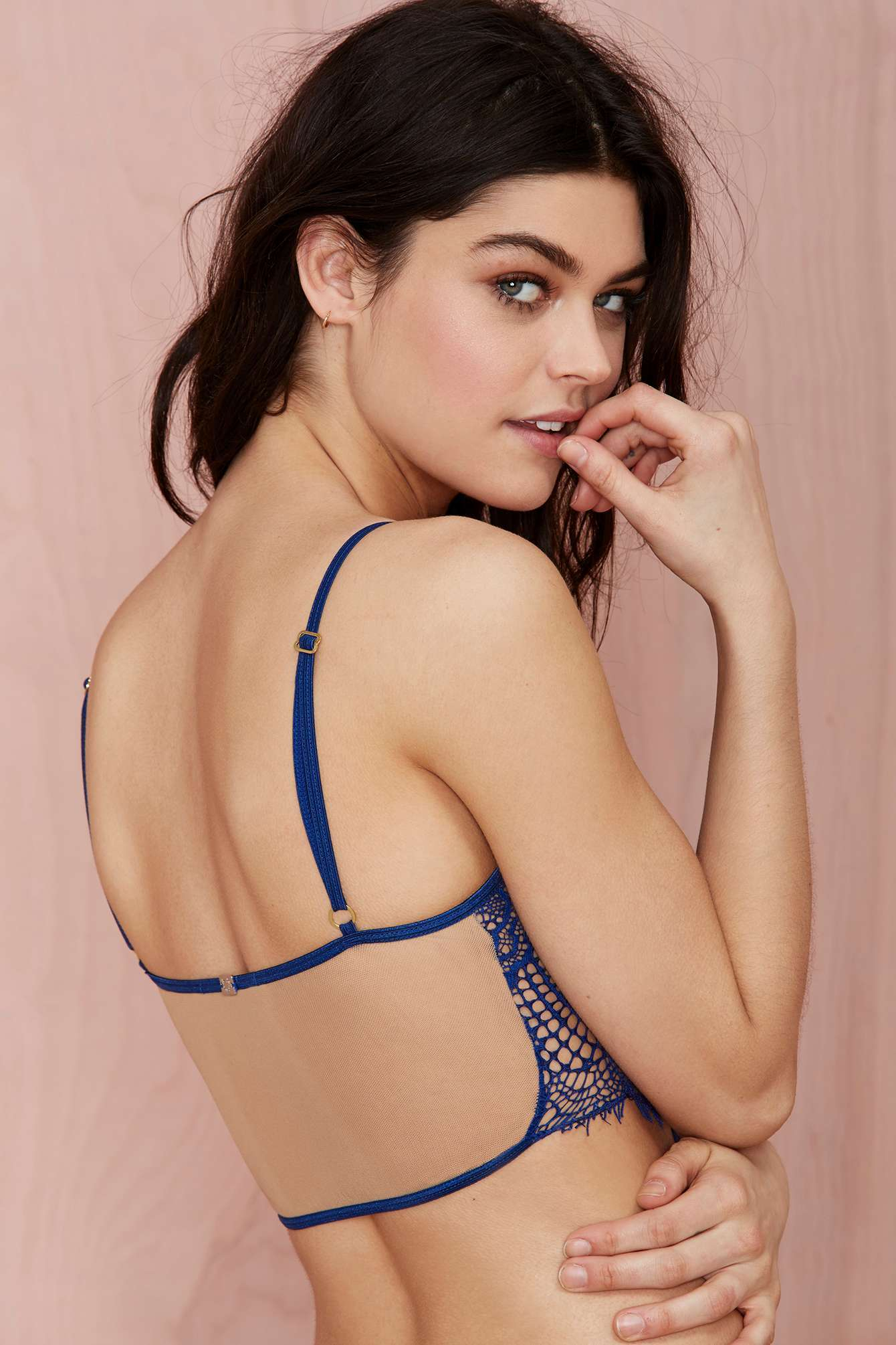edee81a1e0beb Lyst - Nasty Gal Skivvies Bat Your Lashes Lace Bralette - Blue in Blue