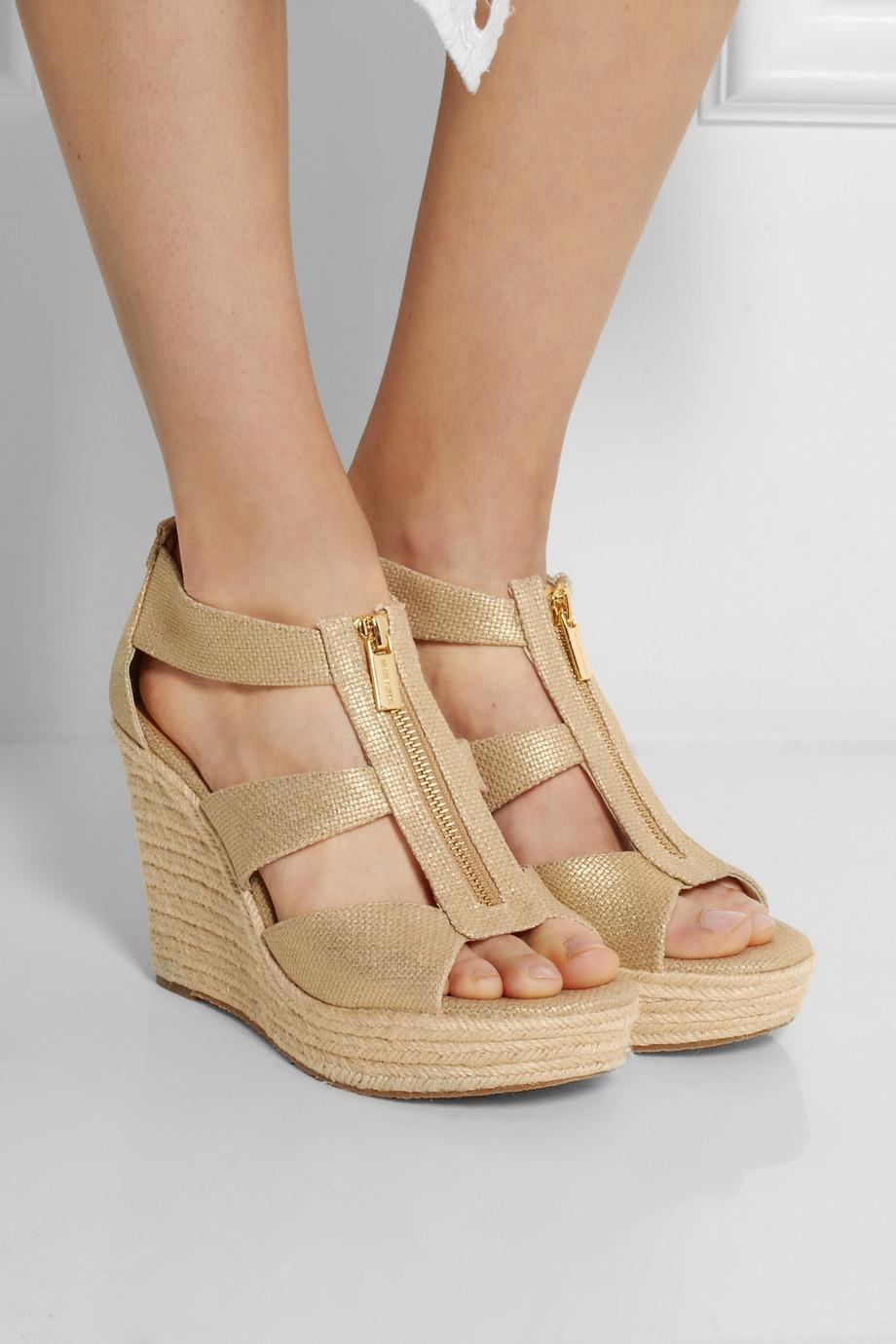6a1039bdd95 MICHAEL Michael Kors Damita Metallic Canvas Wedge Sandals in ...