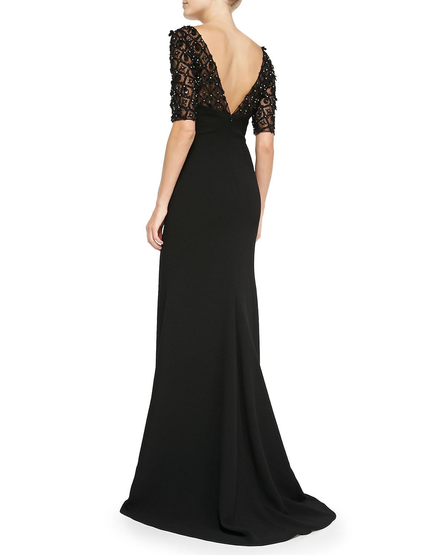 badgley mischka beaded raglan sleeve evening gown in black