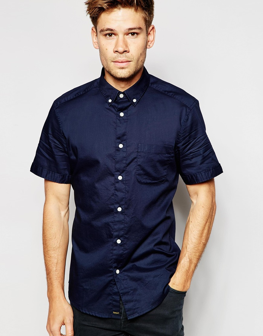 Esprit short sleeve oxford shirt in blue for men lyst for Mens short sleeve oxford shirt