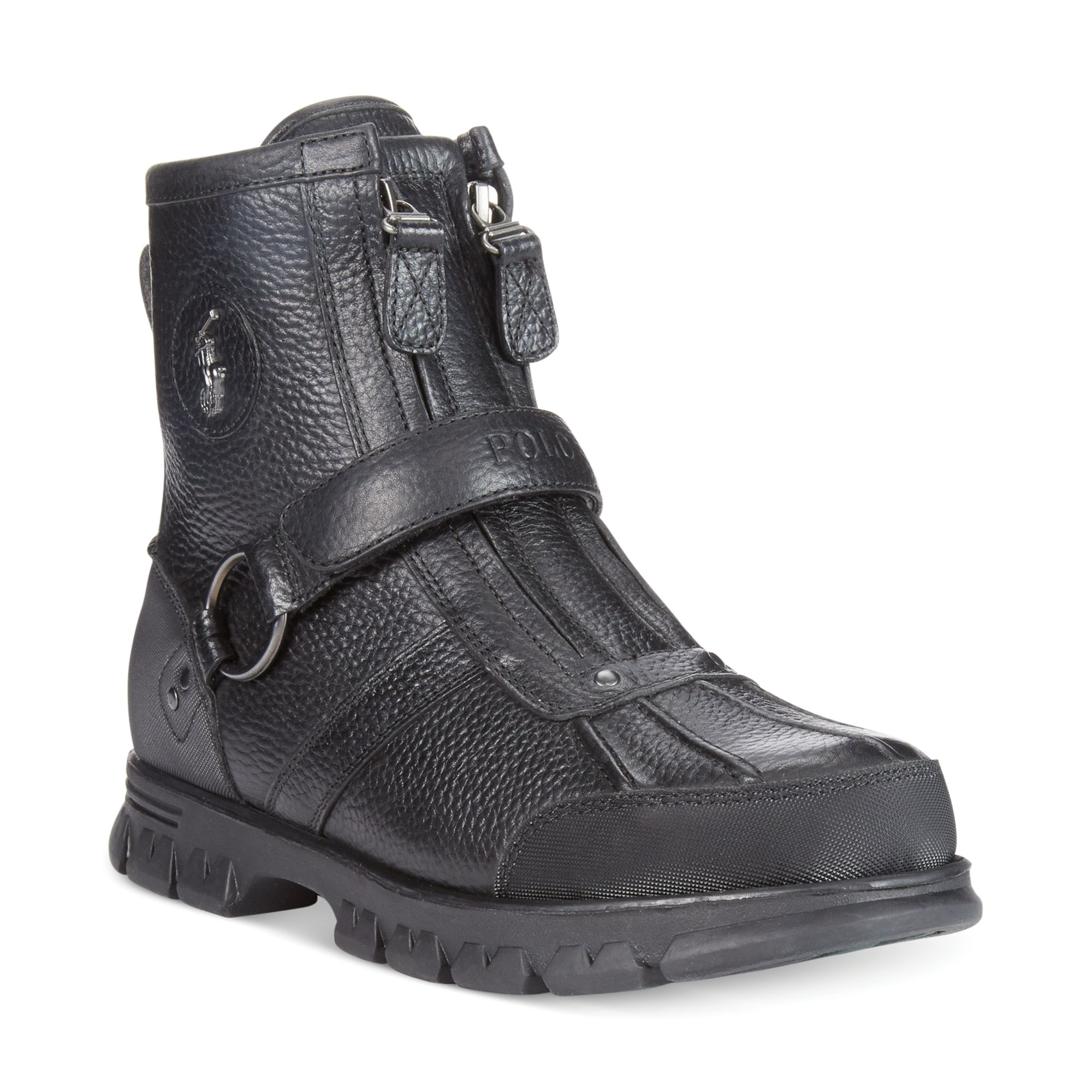 polo ralph conquest iii high boots in black for