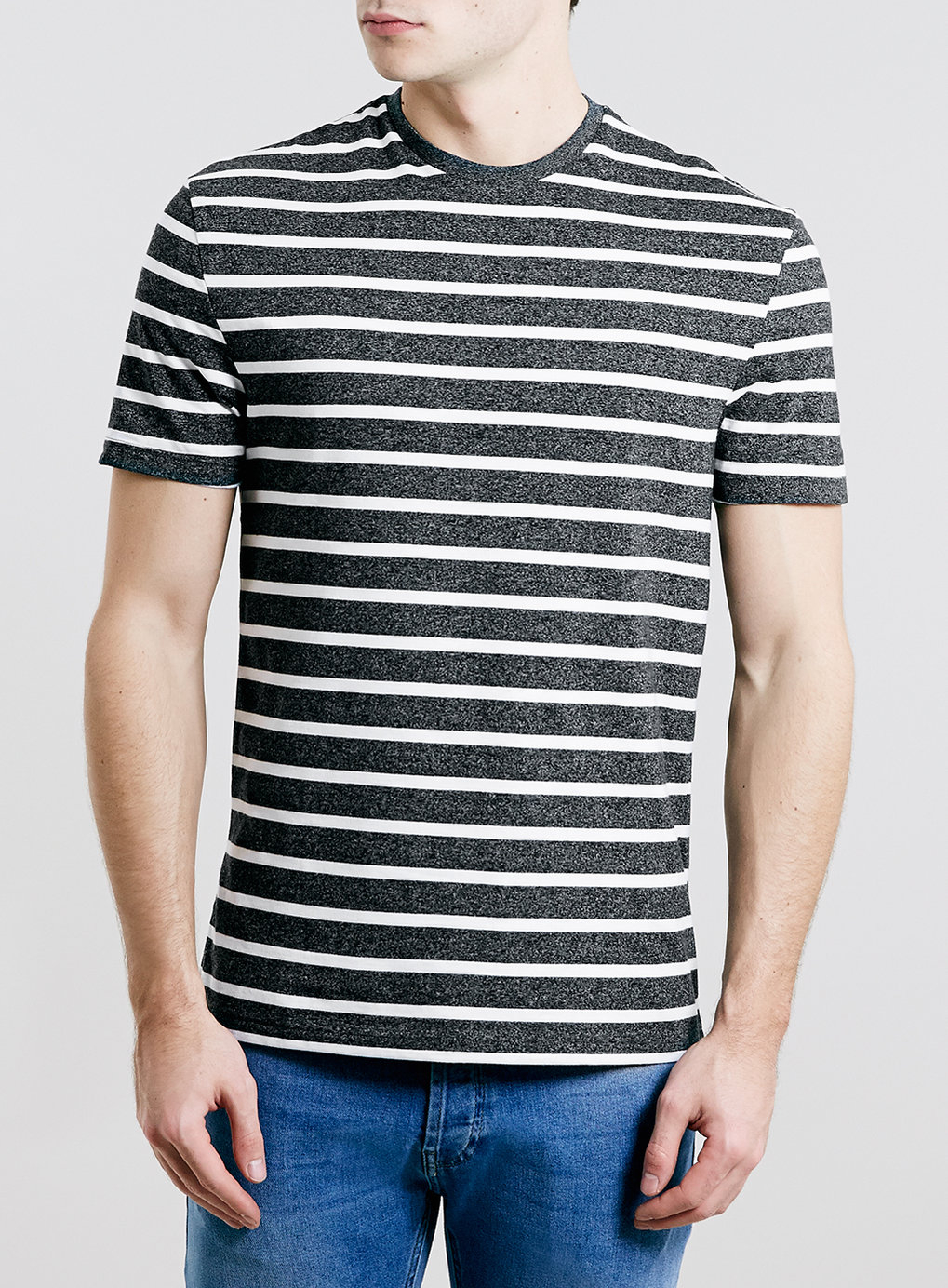 Grey Striped T Shirt Of Topman Grey And White Stripe T Shirt In Gray For Men Grey