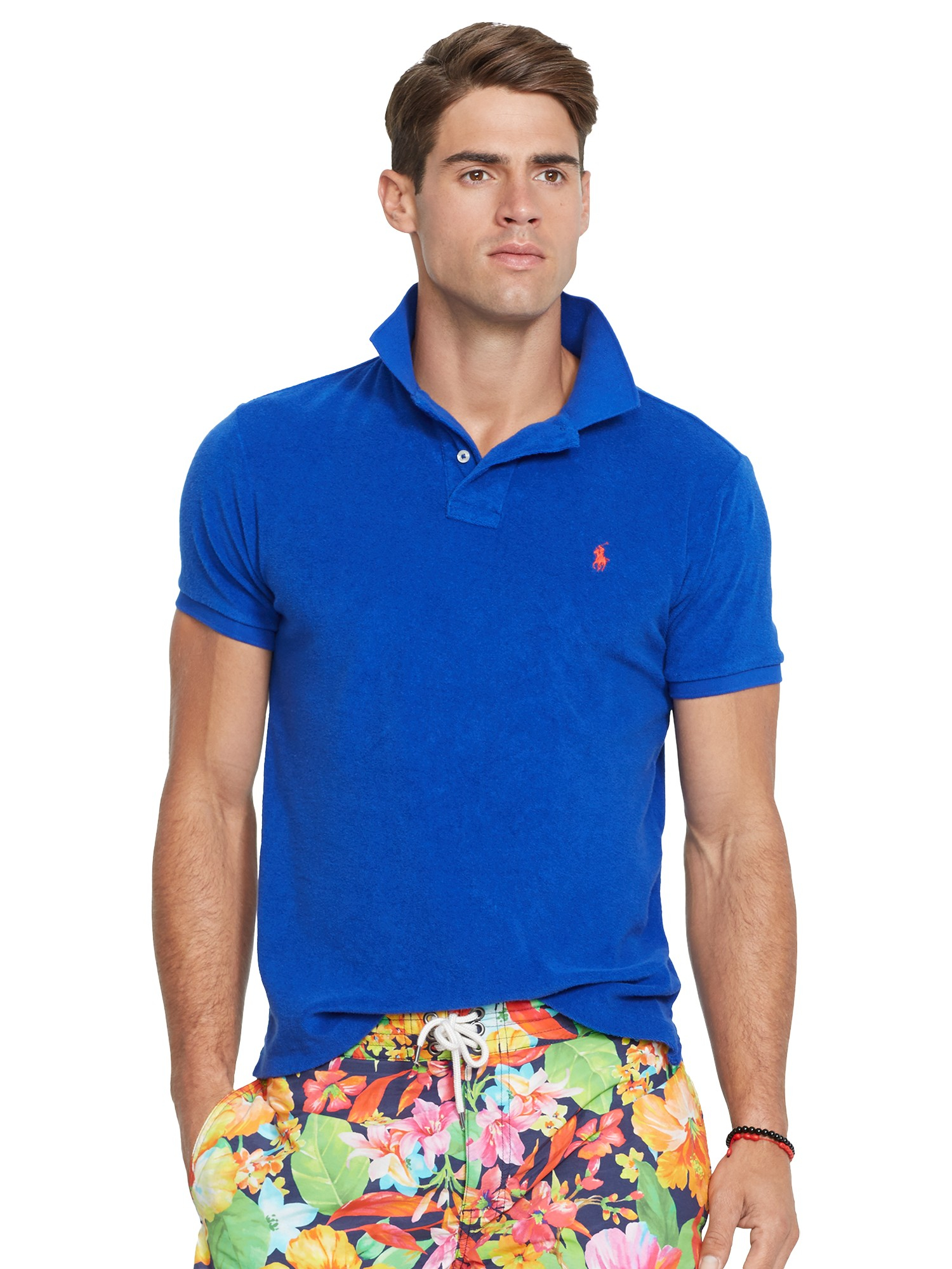 Polo Ralph Lauren Custom Fit Terry Cloth Polo Shirt in Blue for Men ... 7f525ed2d0b0