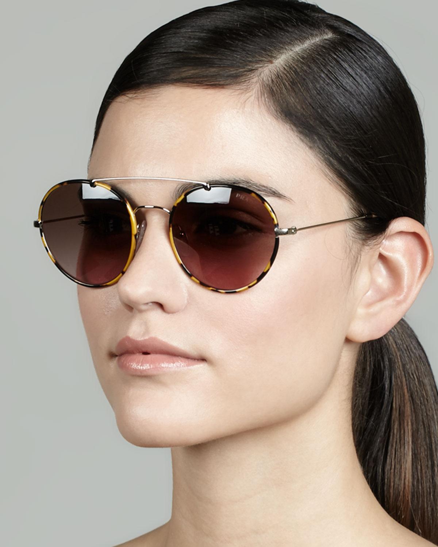 480056426a Lyst - Prada Catwalk Round Aviator Sunglasses in Brown