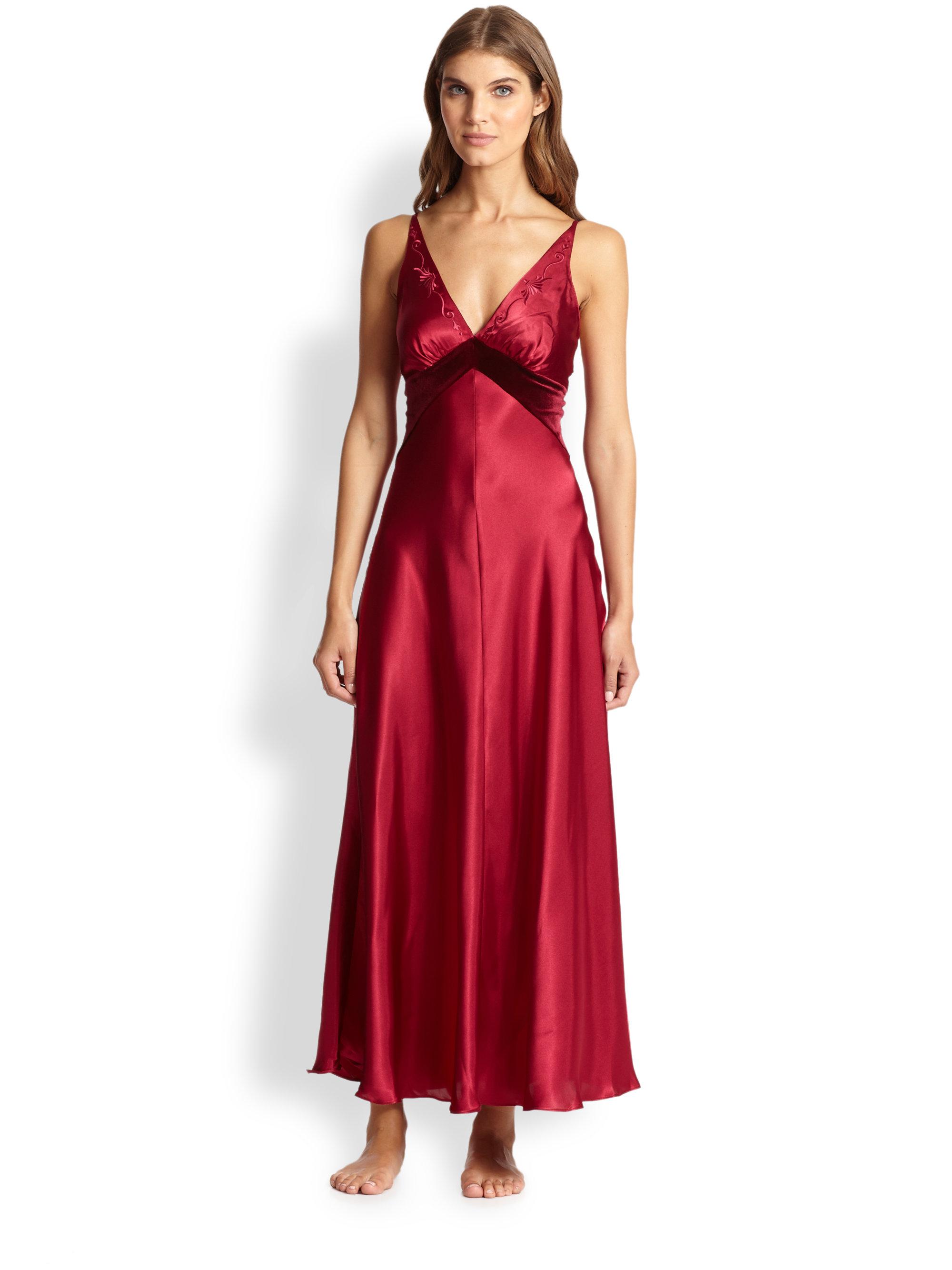 bfec2ddbec Lyst - Jonquil Velvet-Trimmed Satin Long Gown in Red