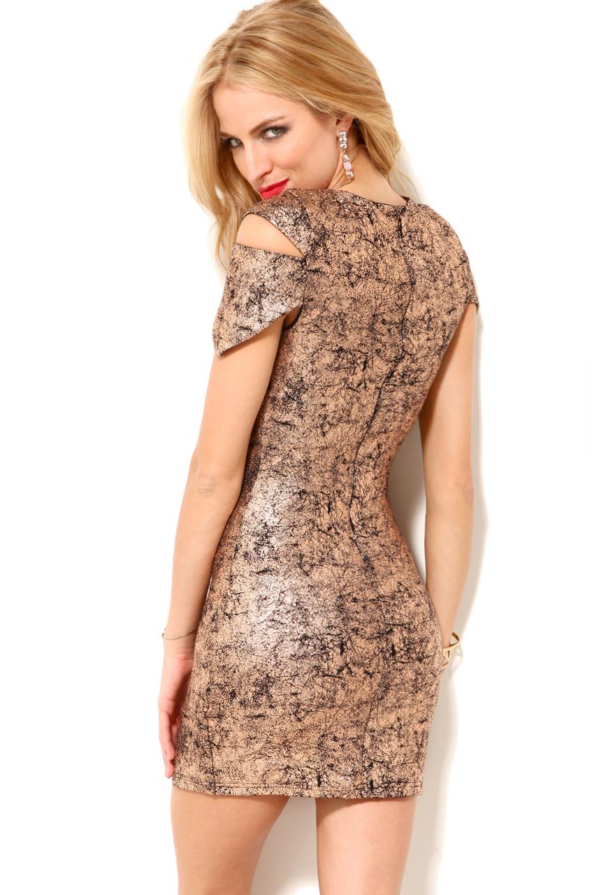 Akira Metallic Cut Sleeve Mini Dress In Rose Gold In