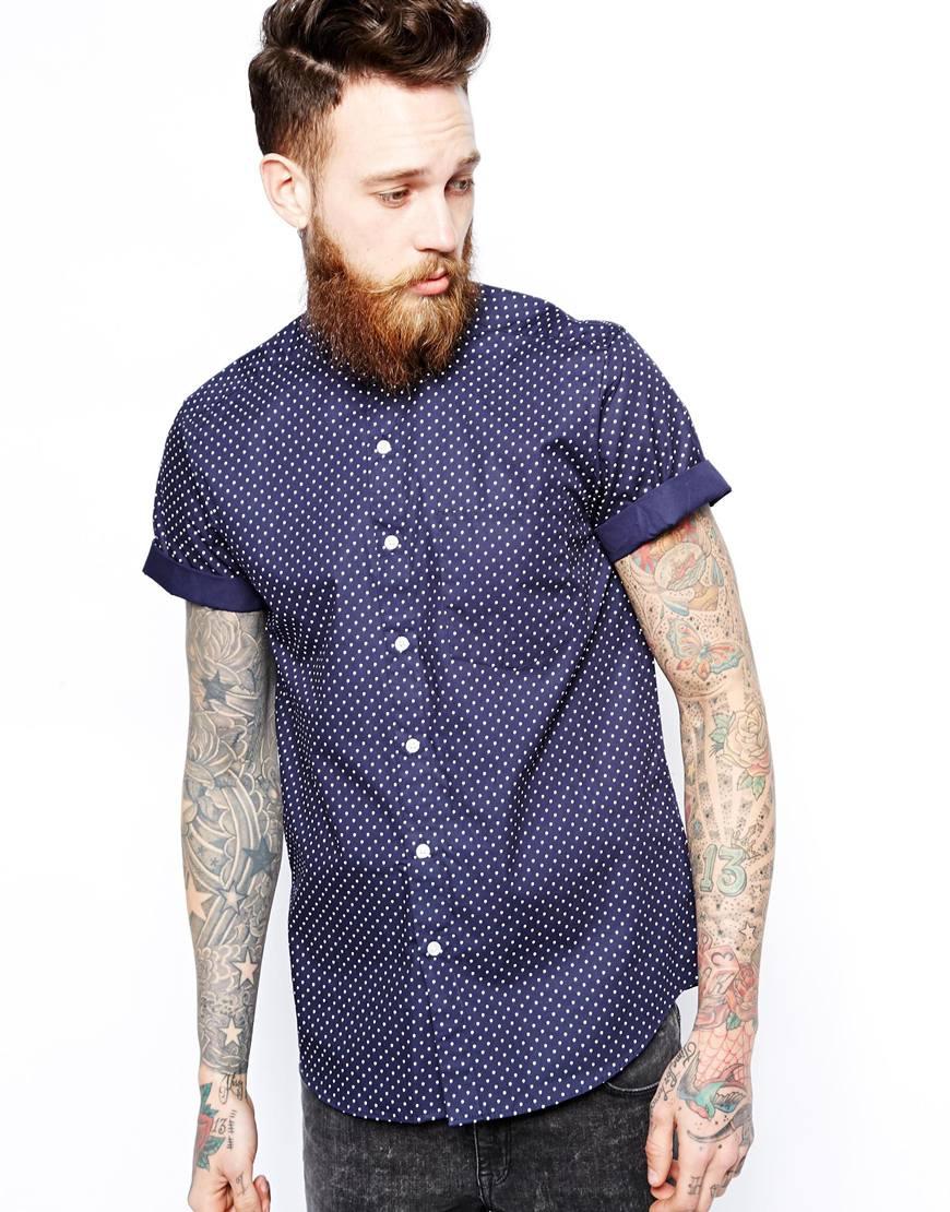 Asos shirt in short sleeve with polka dot print and Mens grandad collar shirt