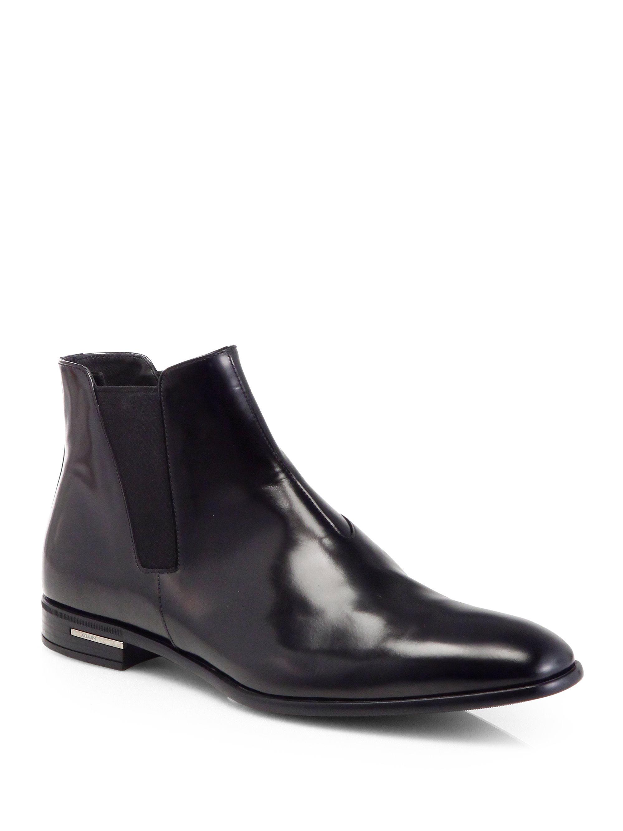 Prada Spazzolato Chelsea Boots In Black For Men Lyst