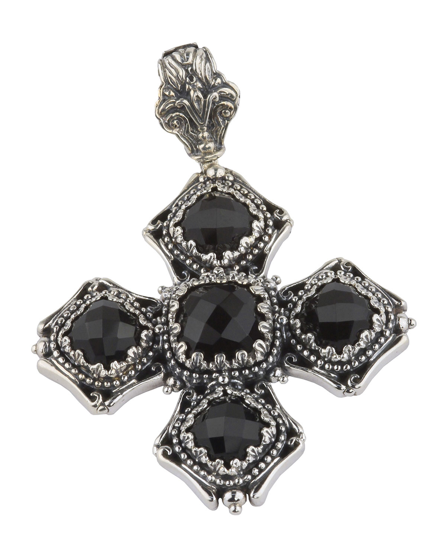 Konstantino Iris Silver & 18k Carved Onyx Rectangle Pendant Enhancer gAFcNuInl