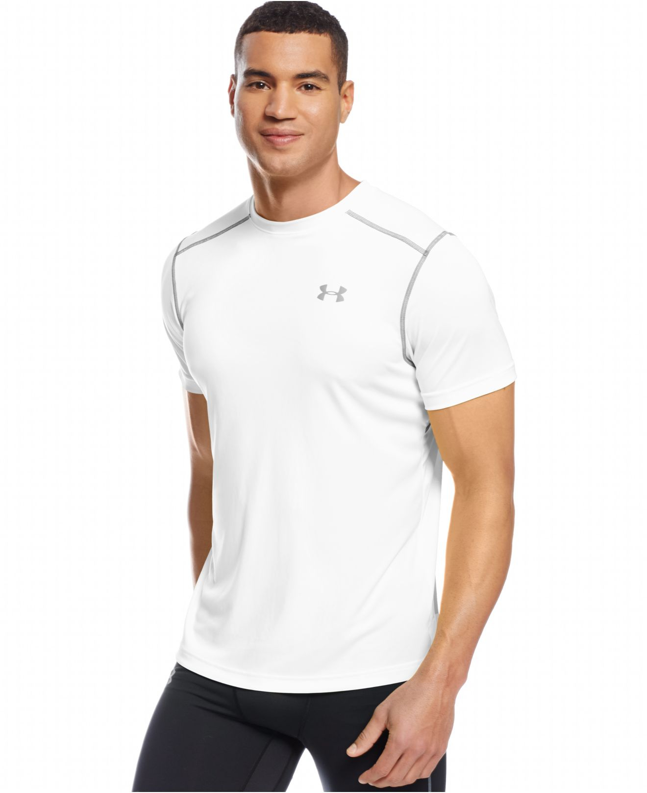 Under Armour Printed Coldblack Running T Shirt In White