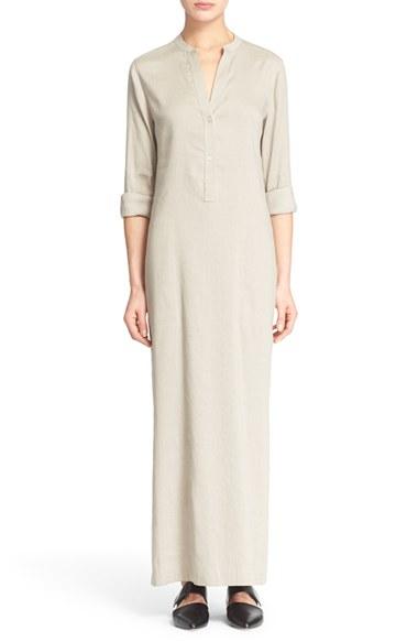 Lyst - Vince Long Sleeve Linen Blend Dress in Natural