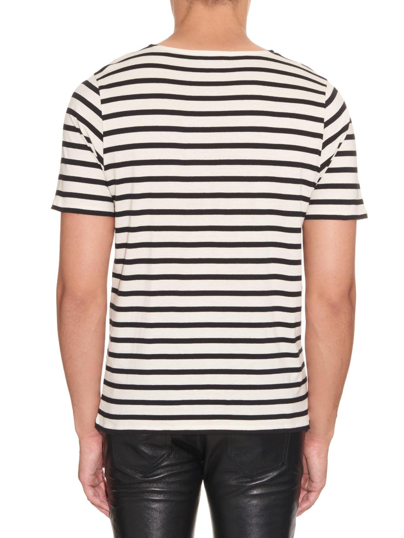 Striped cotton-jersey T-shirt Saint Laurent Prices For Sale Sale Countdown Package Outlet Explore Choice 24dYI
