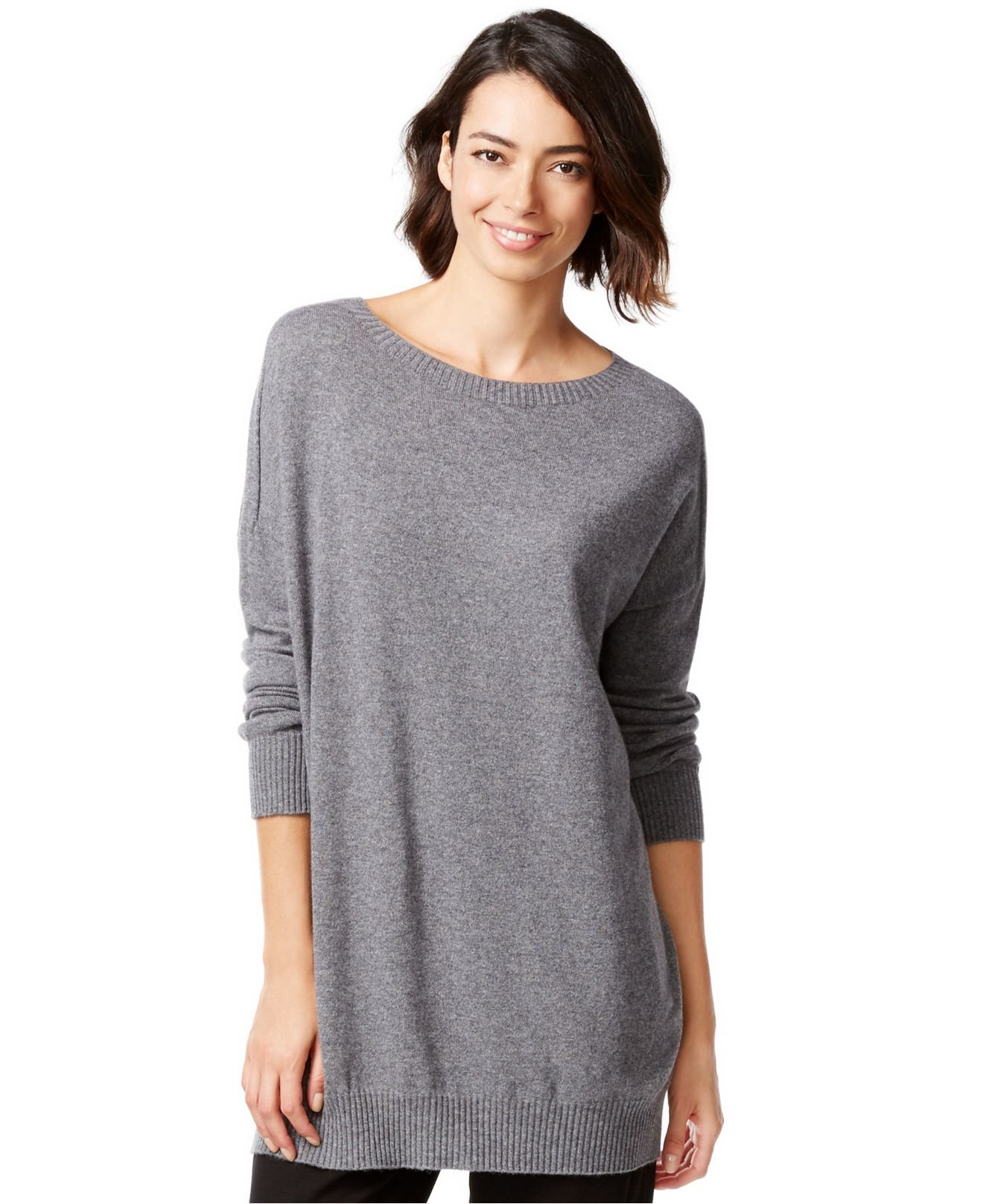 30e87c4e618 Eileen Fisher Cashmere Relaxed-fit Sweater Tunic in Gray - Lyst