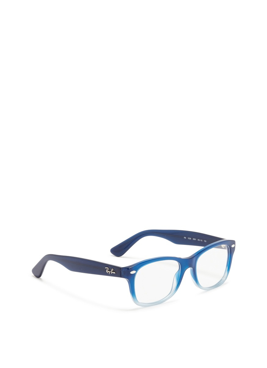 16acfb0a48b Lyst - Ray-Ban Junior Square Frame Ombré Acetate Optical Glasses in Blue