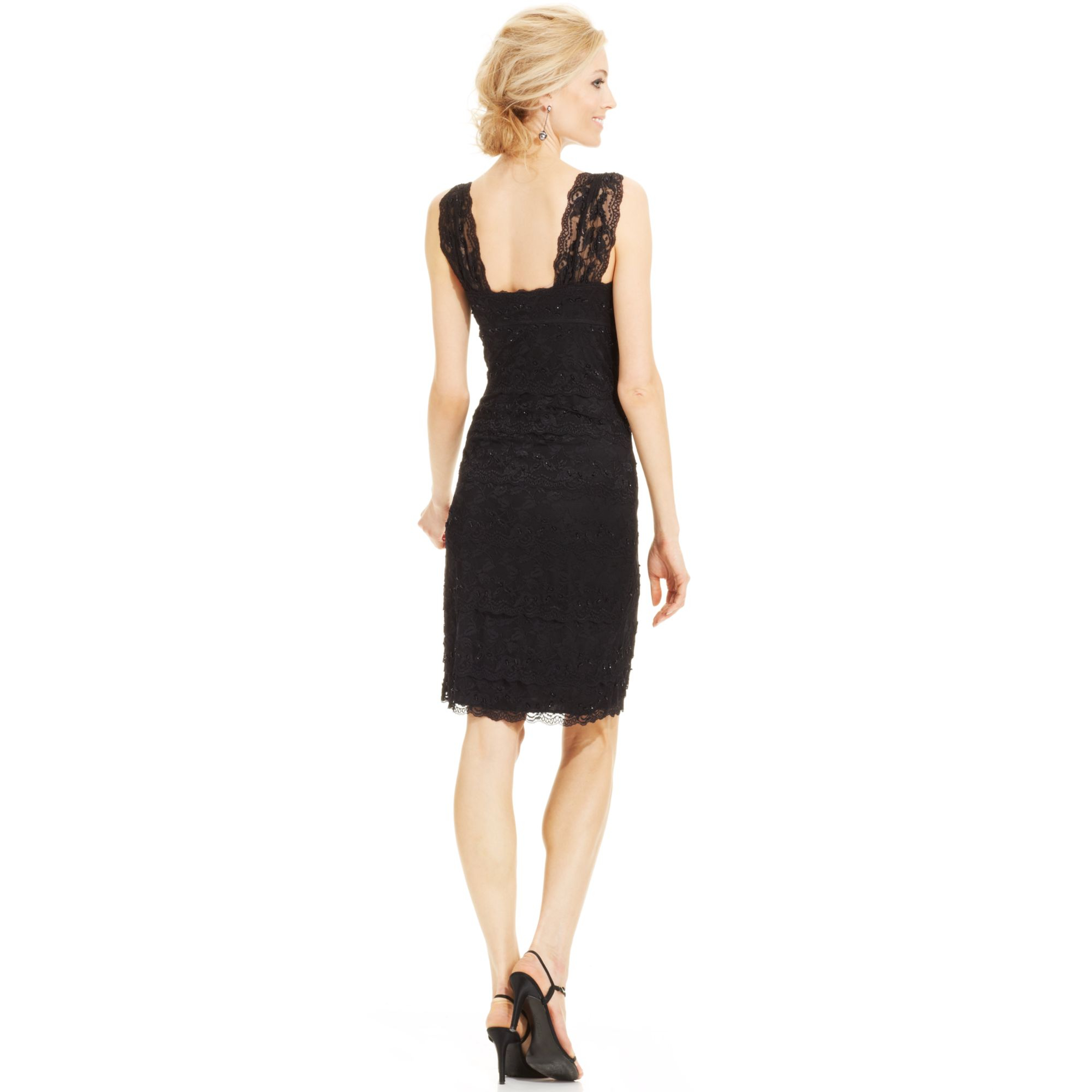 Lyst Marina Sequin Lace Tiered Dress And Jacket In Black