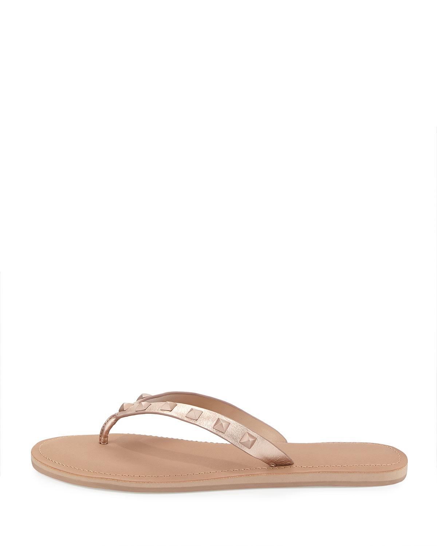 3bf881aa62b Lyst - Rebecca Minkoff Fiona Studded Thong Sandals in Metallic