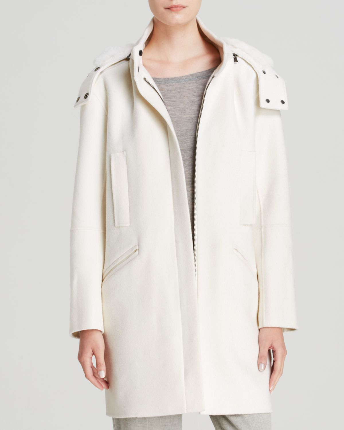 Vince Coat - Fur Lined Hooded in White | Lyst