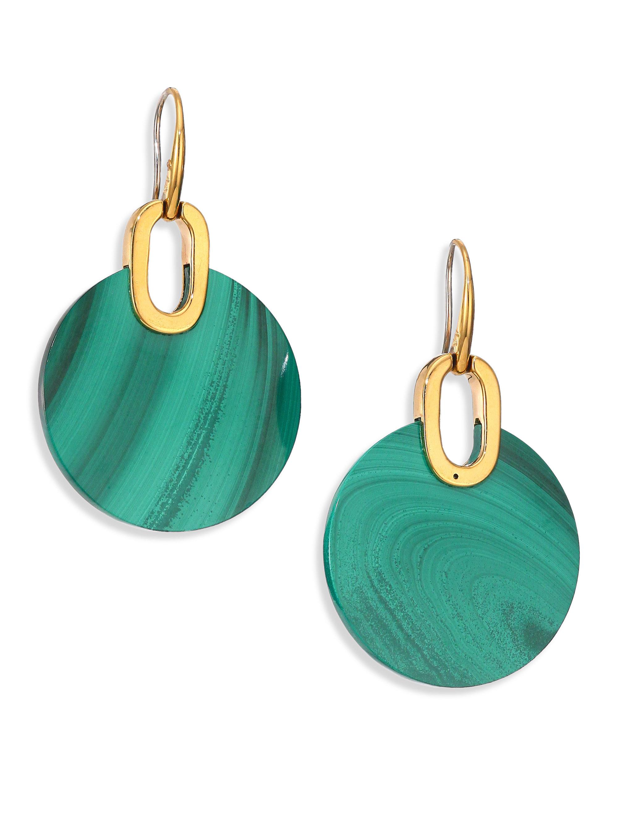 7c01e7170938 Lyst - Michael Kors Cityscape Disc Green Malachite Drop Earrings in ...