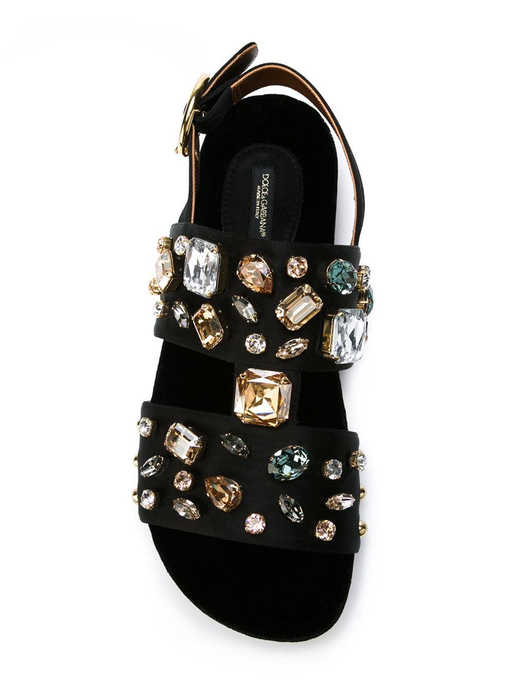 Lyst Dolce Amp Gabbana Crystal Embellished Sandals In Black