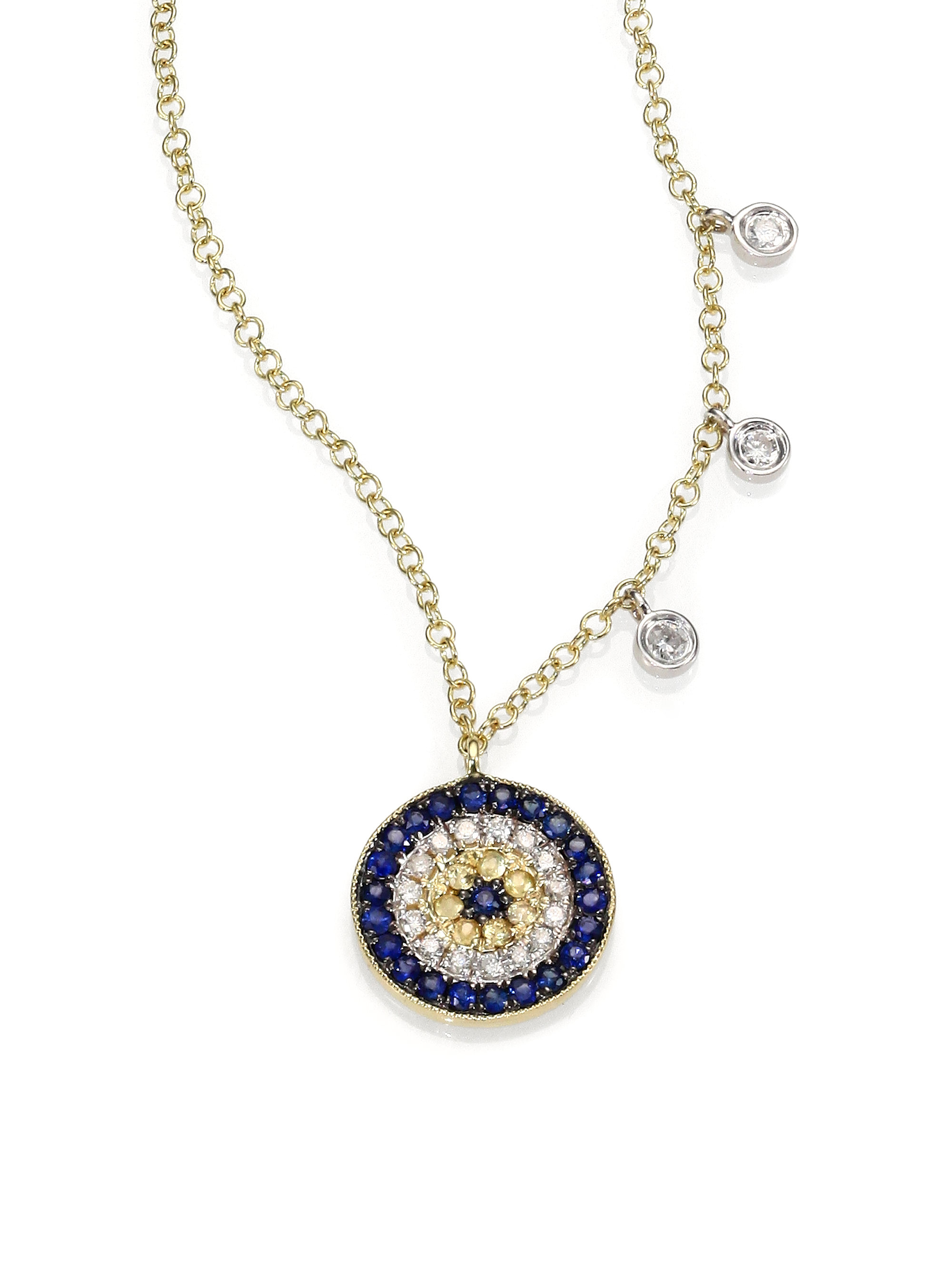 meira t diamond blue sapphire 14k yellow gold evil eye. Black Bedroom Furniture Sets. Home Design Ideas