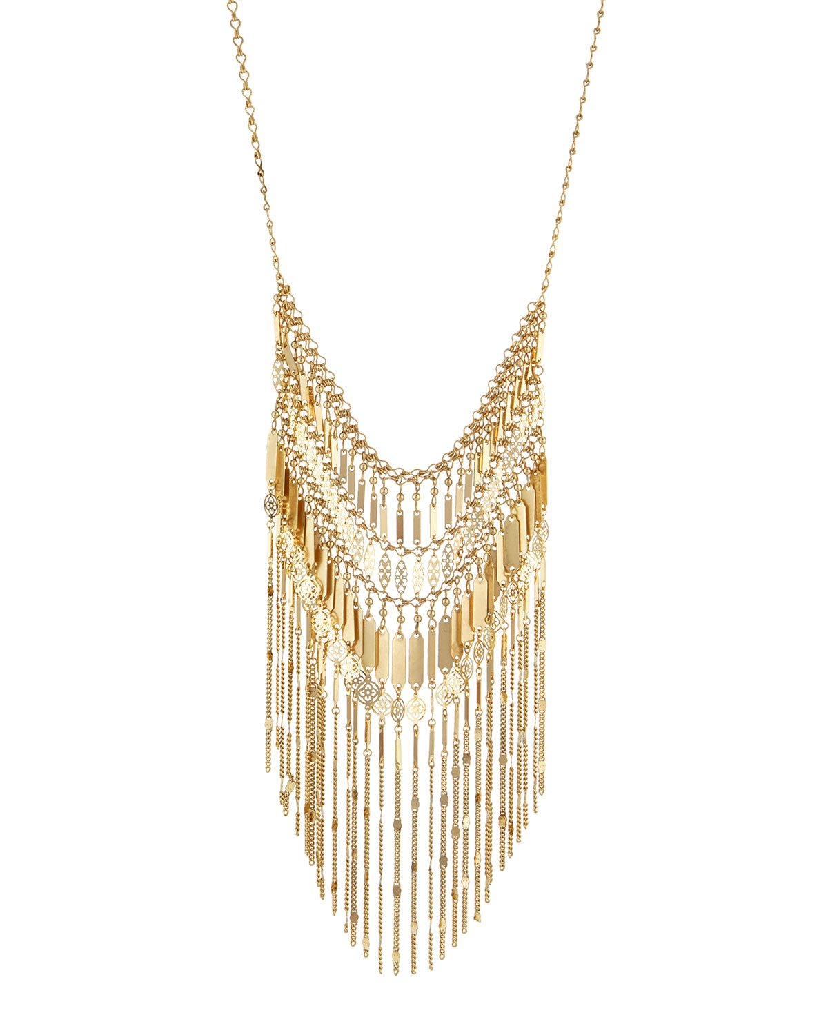 Lydell Nyc Golden Fringe Bib Necklace 2PdgSJWM